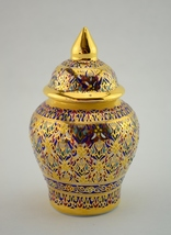 Small Vintage Hand Painted Ceramic Container with Lid Gold Tone Thailand... - $19.97