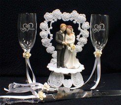 IVORY  Wedding Gift LOT Heart to Heart Cake Topper Toasting Glasses Server set - $65.93