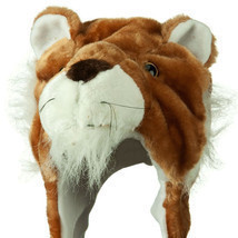 Cute Lion Winter Fluffy Plush Warm Cap Hat Long Arms & Mittens Scarf Gif... - $12.19