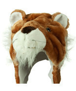 Cute Lion Winter Fluffy Plush Warm Cap Hat Long Arms & Mittens Scarf Gif... - £9.35 GBP