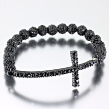 Fashion Charcoal Gray Sideways Cross Stretch Bracelet - $24.99