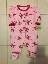 NEW Carters Pink Red White Ruffle Santa Claus Christmas Infant Girls Size 3M 1Pc - $11.87