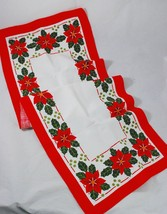 Vintage Christmas Table Runner Poinsettias - Flax/Cotton - Made in SWEDEN - $24.26