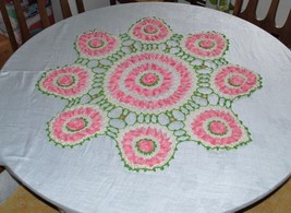 "Crochet ""Circle Of Roses"" Handmade Doily Large Centerpiece - Pink/White/... - $98.99"