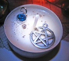 Haunted PROTECTION MAGICK CANDLE & CHARMS 925 PENTRAGRAM & TOPAZ WITCH Cassia4  - $30.00