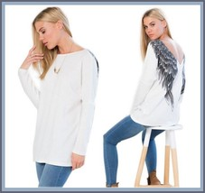 Loose V Neck Long Sleeve Ink Blue Angel Wings Long Woolen Cream Sweater