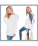 Loose V Neck Long Sleeve Ink Blue Angel Wings Long Woolen Cream Sweater    - $48.95