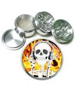 """63mm 2.5"""" 4 Pc Aluminum Sifter Magnetic Herb Grinder Skull Design-017 - $9.75"""