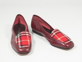 Enzo Angiolini Size 6 Burgundy Liberty Flats Leather Red Tartan Plaid - $33.56