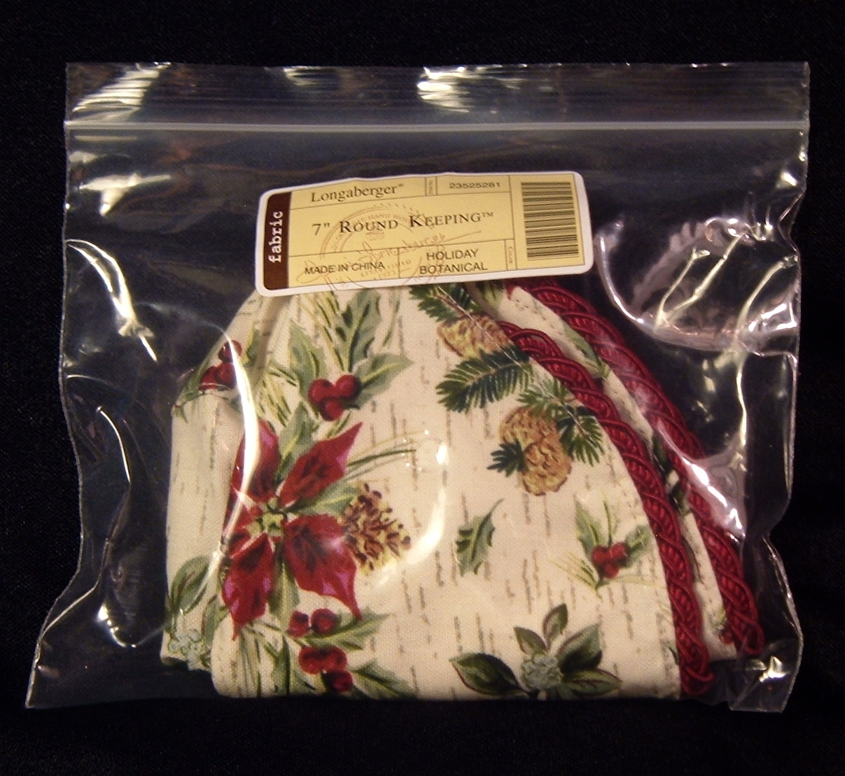 "Primary image for NIP 7"" HOLIDAY BOTANICAL Round Keeping Basket Liner/s Longaberger (4 av) $0 Ship"