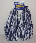 New Beistle Football Cheerleader Party Shaker Pom Pom 2pc Blue White - $6.30
