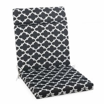 "Black Trellis Outdoor Patio Chair Cushion Pad Hinged Seat Back 44"" L x 2... - $58.90"