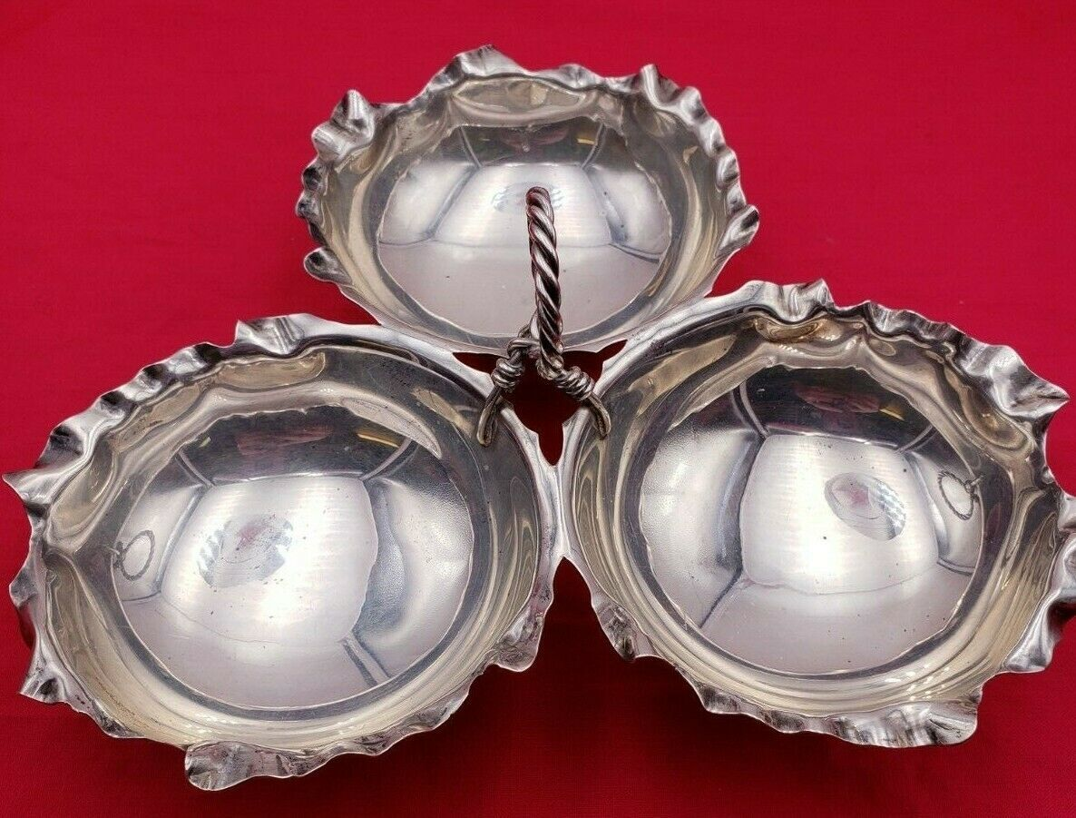 Unique Vintage Sterling Silver 3 Part Candy Dish w/ Scalloped Edge #6747 image 7