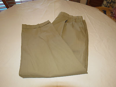 Mens Saks Fifth Avenue 371052 5813 woven in Italy khaki 42 R pants slacks EUC @