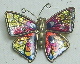 Vintage Glitter Red & Yellow Enamel Brass Butterfly Pin Brooch - $6.99
