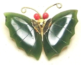 Vintage Jade & Gold Tone Butterfly Pendant - $6.99