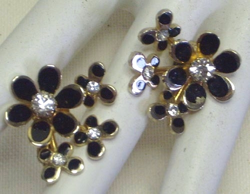 Vintage Black Enamel & Rhinestone Earrings