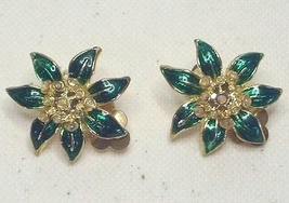 Vintage Green Enamel Floral Clip On Earrings - $4.99
