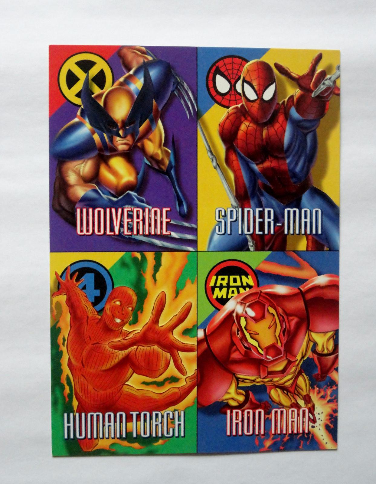 Cards Marvel 1996 Vision Fleer Uncut Promo Sheet Spiderman Wolverine Iron Man
