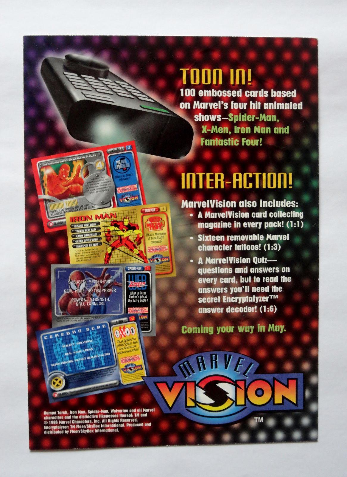 Cards Marvel 1996 Vision Fleer Uncut Promo Sheet Spiderman Wolverine Iron Man image 2