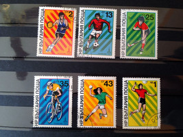 Stamps Bulgaria 1980 Sport Soccer Hockey Cycling Basketball Handball Vol... - $10.58