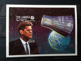 Stamps Gambia 1988 1 S/S 20th anniversary Apollo 11 25th Kennedy's death... - $14.12