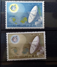 Stamps Greece 1970 Space Intelsat III and Apollo station - $10.00