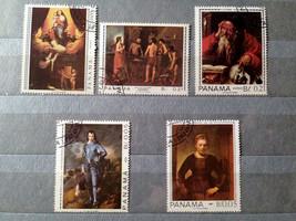 Stamps Panama 1967 Paintings Rembrandt Gainsborough Ingres - $14.12