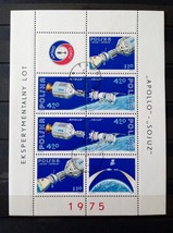 Stamps Poland 1975 Space Apollo Soyuz 1 Souvenir sheet S/S + 3 stamps - $24.12