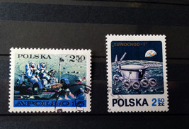 Stamps Poland Polska 1971 Space 2 stamps set Apollo 15 Luna 17 - $10.00