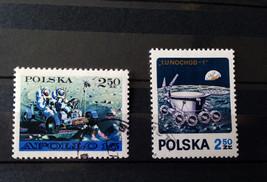 Stamps Poland Polska 1971 Space 2 stamps set Apollo 15 Luna 17 - $10.00