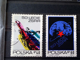 Stamps Poland Polska 1972 Space Man Woman Sculpture Wiera Muchina Globe ... - $10.00