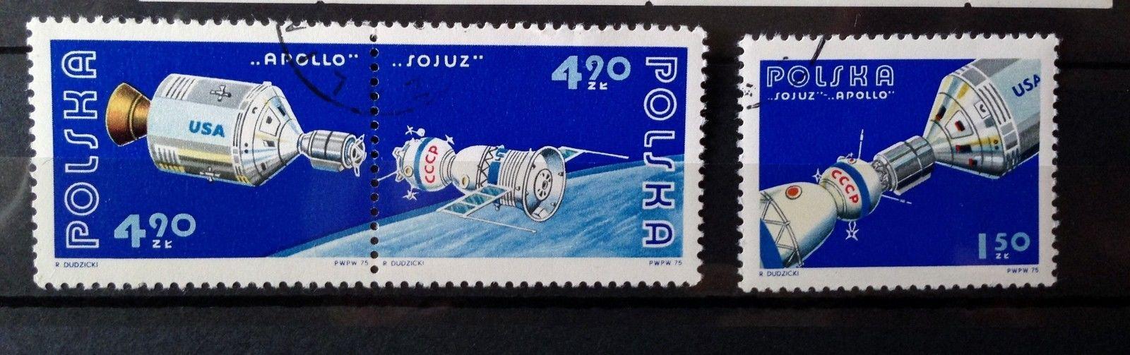 Stamps Poland 1975 Space Apollo Soyuz 1 Souvenir sheet S/S + 3 stamps