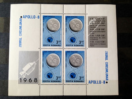 Stamps Romania 1969 Space Apollo 8 sheetlet Souvenir Sheet S/S - $26.12