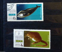 Stamps USSR Soviet Russia Union 1974 Fauna Desman Greenland whale - $10.00