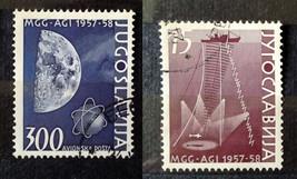 Stamps Yugoslavia Jugoslavija 1958 Ocean Exploration Moon and Earth Sate... - $13.00