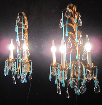 2 Italy Antique gilt Tole Macaroni OPALINE Blue... - $940.84