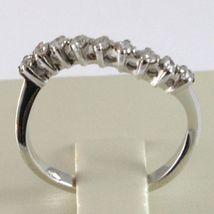Bague en or Blanc 750 18K, Veretta 9 Diamants Carat en Tout 0.23, Vague Ondulé image 4