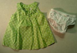 NWOT Girl's Sz 9 M Months Two Piece Carter's Dress Set Green W/ White Polka Dot - $15.75
