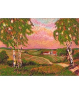 "Akimova: SUNSET, landscape,tree,9""x12"" - $20.00"