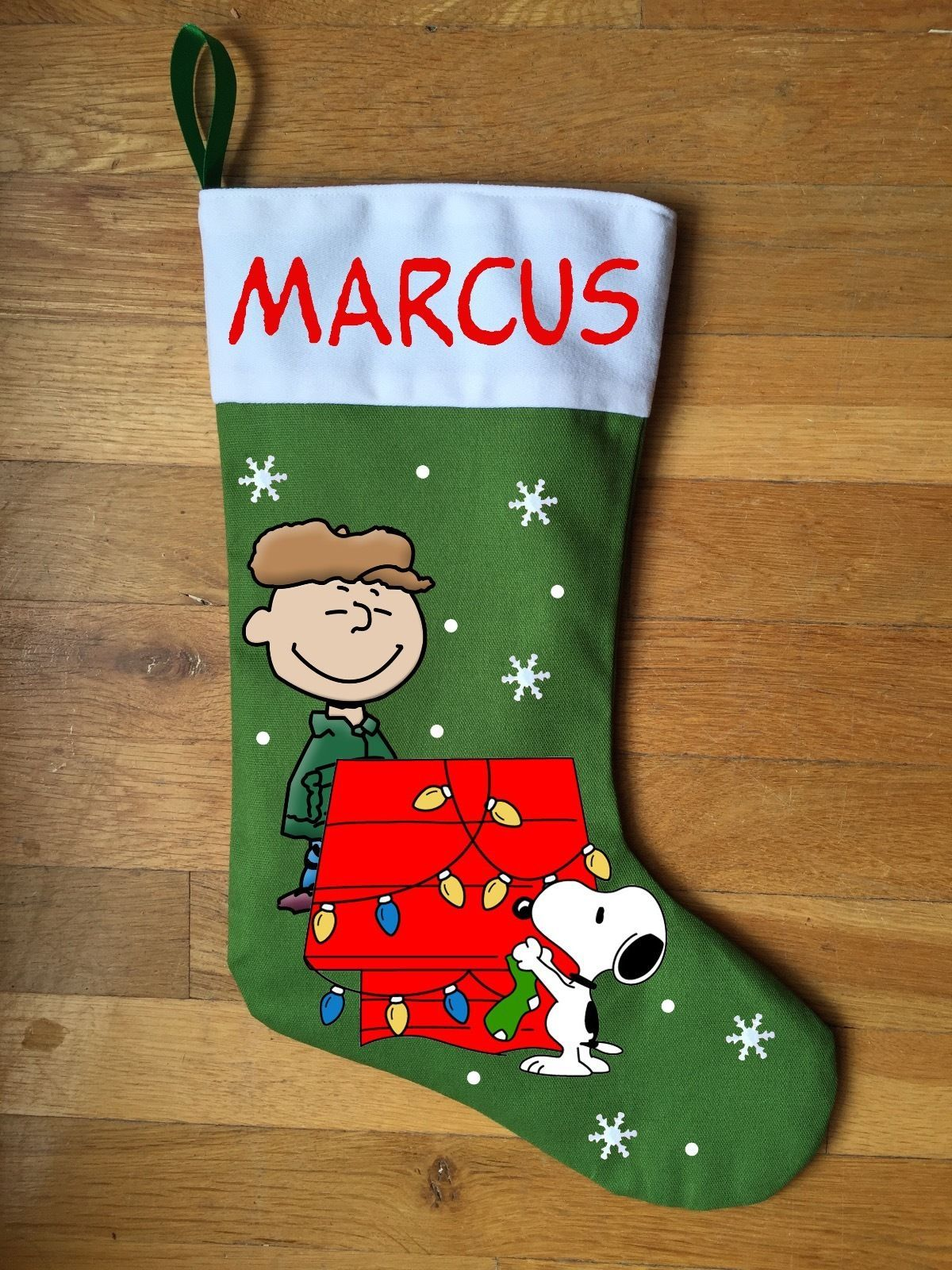 Charlie Brown Christmas, Snoopy Christmas Stocking - Personalized and Hand Made