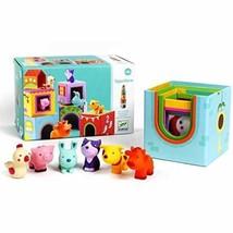 Djeco Stackable Cubes Topanifarm with Farm Barnyard Animals 12 Piece Set - $28.39