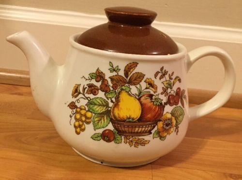 Vintage 1970`s Sadler England Teapot With Lid RareFruit Pattern Retro Decor