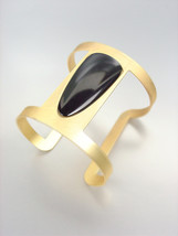 CHIC MODERN Mat Gold Metal Black Oval Lucite Wide Cuff Bracelet PLUS SIZE - €14,15 EUR