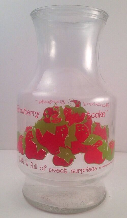 Vintage 1980 Strawberry Shortcake Glass Juice Pitcher Carafe Decanter