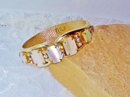 Mint Vintage Bracelet Gorgeous Gold with White MOP Mother of Pearl and A... - $80.00