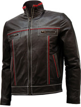 Double Stitched Men's Brown Leather Jacket | LJM - $199.99