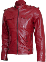 Biker Look Men Burgundy Leather Jacket | LJM - $199.99