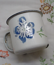 Vintage Rustic Primitive Hand Painted Enamelware Mug /Metal Cup With Blu... - $10.50
