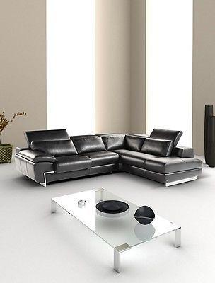 J&M Oregon II Full Top Grain Leather Italian Sectional Sofa Modern Right